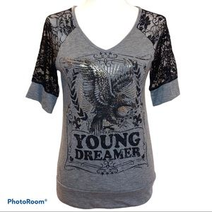 Daytrip Top Young Dreamer Eagle Tee Gray Medium